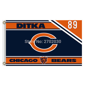 Ditka 89 Chicago Bears Flag Banners Football Team Flags 3x5 Ft Super Bowl Champions Banner 90x150cm Bear