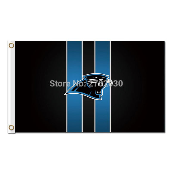 Black Carolina Panthers Stripes Design Flag Football Team 3ft X 5ft Banners Super Bowl Champions Carolina Panthers Banner