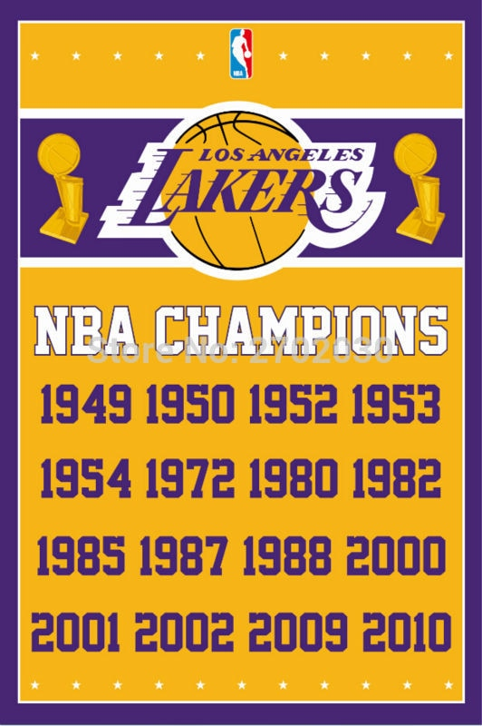 Los Angeles Lakers Basketball Team 90*150cm Flag Banners Home Decoration 100D Polyester 3*5ft with Metal Gromets Sleeve