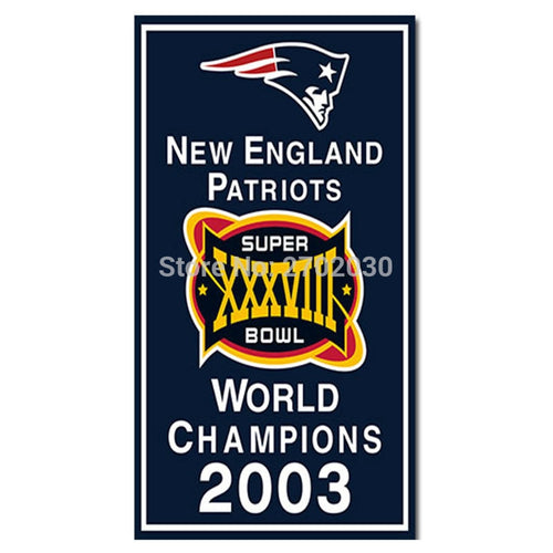 New England Patriots karogs Futbola komanda 3ft X 5ft World Series 4X Super Bowl Pasaules čempioni Custom Patriots Banner 2003