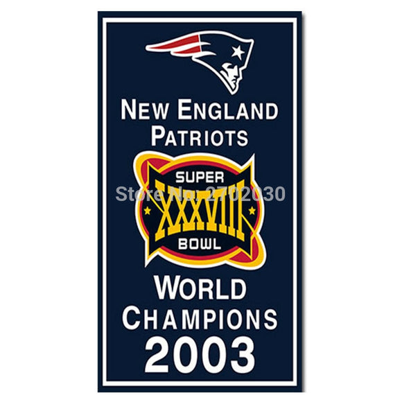 New England Patriots Flag Football Team 3ft X 5ft World Series 4X Super Bowl World Champions Custom Patriots Banner 2003