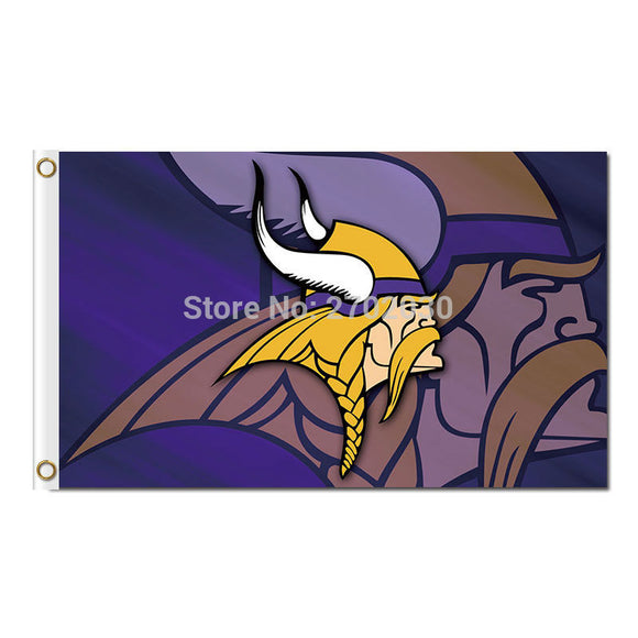 Minnesota Vikings Design Flag Football Team Super Bowl Champions Fan World Series 3ft X 5ft Banner 2 Metal Grommets Polyester