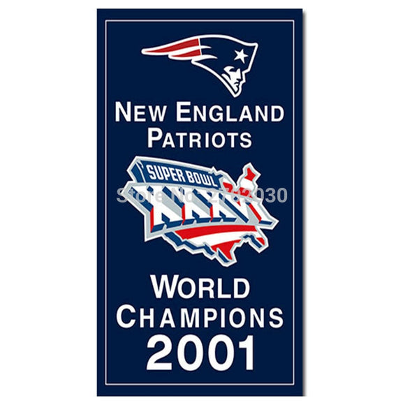 New England Patriots Flag Xxxvi Football Team Banner 3x5 FT Series Super Bowl World Champions Custom Banners 2001