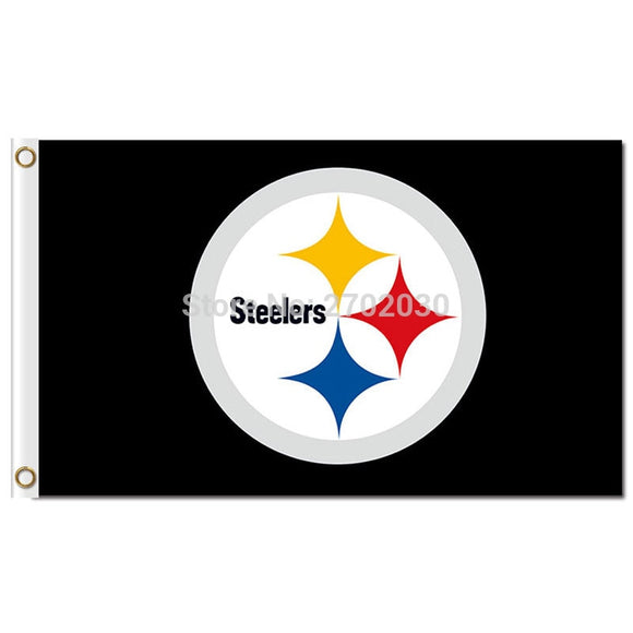 Pittsburgh Steelers Flag Black Background Size 3ft X 5ft Football Team World Series Flag Pittsburgh Steelers Banner Flag