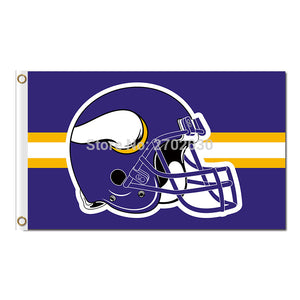 Helmet Stirp Vikings Flag Football Team Fans Super Bowl Champions 3ft X 5ft Polyester 90x150 Cm Minnesota Vikings Banner