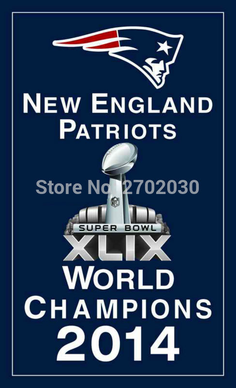 New England Patriots World champions 2014 Flag 3ft x 5ft Polyester banner white sleeve with 2 metal Grommets 90x150cm
