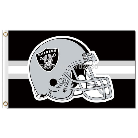 Oakland Raiders Helmet Flag Football Helmet Banner Black 3ft X 5ft World Series Champions Super Team Oakland Raiders Flags