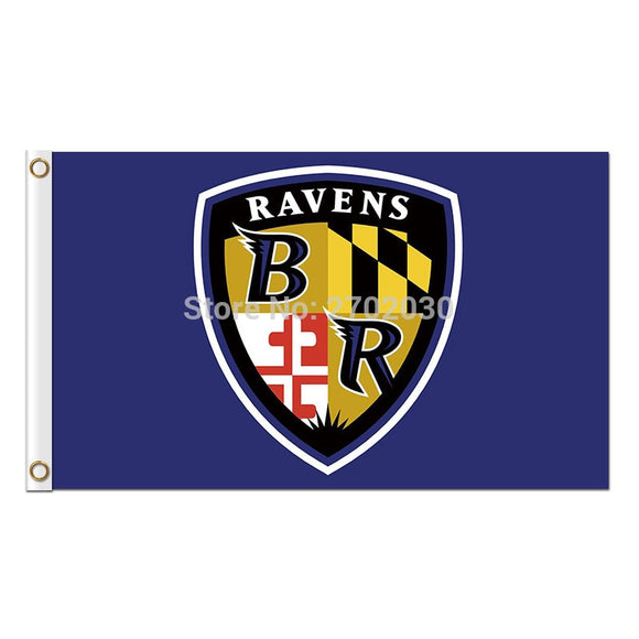 Shield Baltimore Ravens Flag Banner Football Banners Super Bowl Champions World Series 3ft X 5ft 100D Polyester Banner