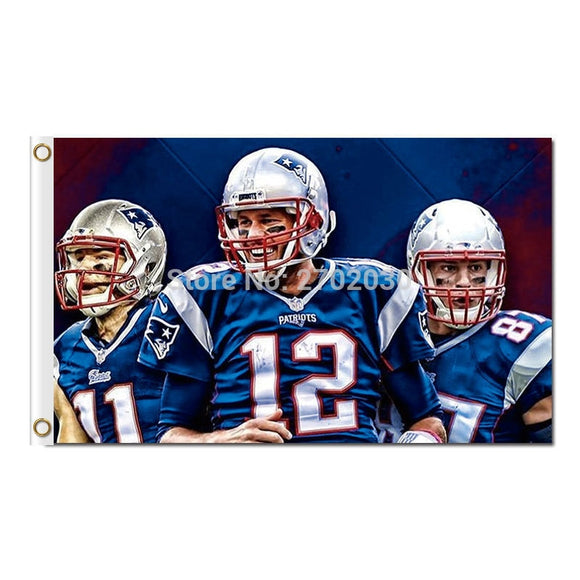 11 12 87 Tom Brady Rob Gronkowski Julian Edelman New England Patriots Flag Football 3ft X 5ft Banner Super Bowl Champions Flag
