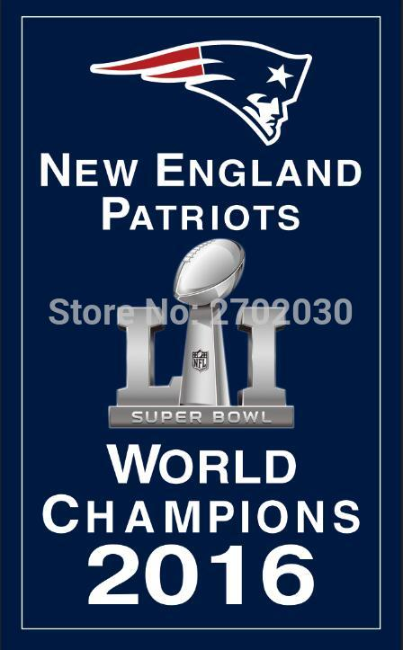 New England Patriots Super Bowl champions 2016 Flag 3ft x 5ft Polyester banner white sleeve with 2 metal Grommets 90x150cm