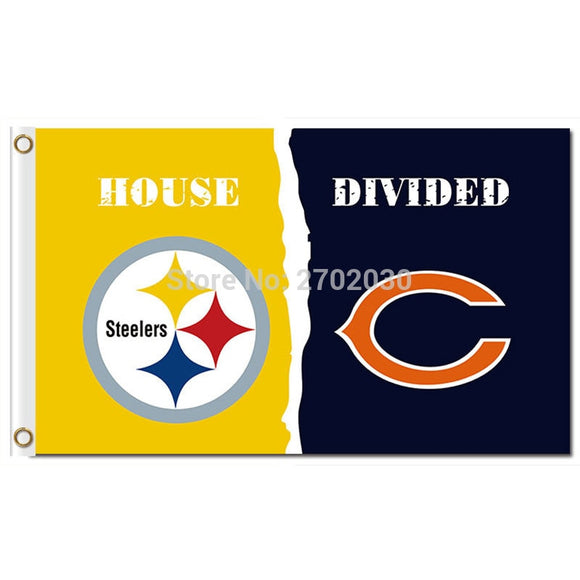 Pittsburgh Steelers Flag Vs Chicago Bears Banner World Series Football Team 3ft X 5ft Steelers And Bears Banner Flag