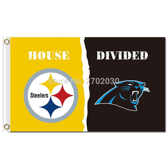 Pittsburgh Steelers Flag Vs Carlina Panthers Flag World Series Football Team 3ft X 5ft Steelers And Carlina Panthers Banner