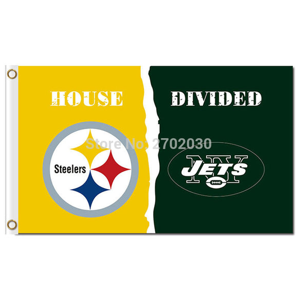 Pittsburgh Steelers Flag Vs New York Jets World Series Football Team 3ft X 5ft Steelers And New York Jets Banner Flag House