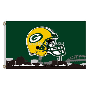 Helmet Country Design Green Bay Packers Flag Banners Sport Football Team Flags 3x5 Ft Super Bowl Champions Banner Flying Printed