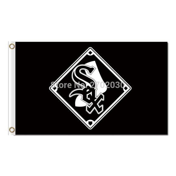 Chicago White Sox Flag Fans Baseball Team Banners Major League Baseball Flags Banner 3x5 Ft Sox Black City Champions