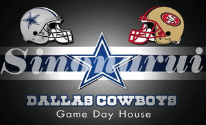 Home Dallas Cowboys Divided San Francisco 49ers Helmet  90*150cm Custom Flags Banners White Sleeve Gromets
