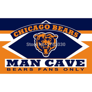 Chicago Bears Fans Only Flag MAN CAVE Banner Flag World Series Football Team 3ft X 5ft Banners Chicago Bears Flag