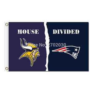 Minnesota Vikings Flag Vs New England Patriots Football Team Super Bowl Champions 3ft X 5ft Polyester Minnesota Vikings Banner
