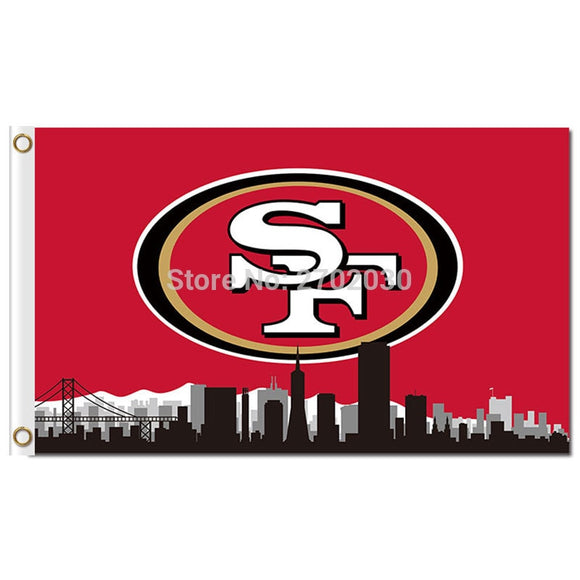 San Francisco Banner 49ers Flag Skyline Large Outdoor 3 X 5ft Banner And Flag 90x150cm 2 Metal Grommets San Francisco Banner