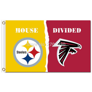 Pittsburgh Steelers Flag Vs Atlanta Falcons Flag House Divied World Series Football Team Pittsburgh Steelers Banner Falcons Flag