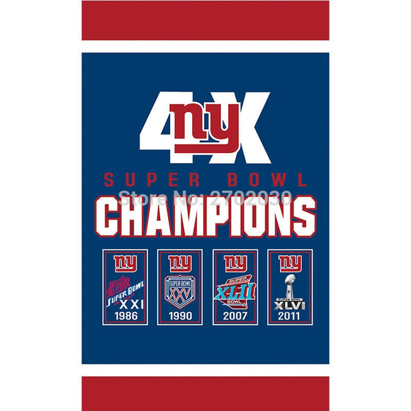 Hanging New York Giants Flag Banners Football Team Flags 3x5 Ft Super Bowl  World Champions Banner b8914214d
