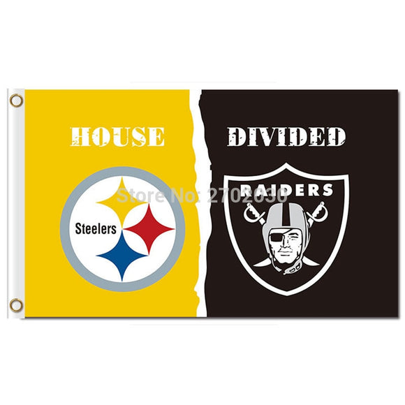 Pittsburgh Steelers Flag Vs Oakland Raiders Banner World Series Football Team 3ft X 5ft Steelers And Raiders Banner Flag