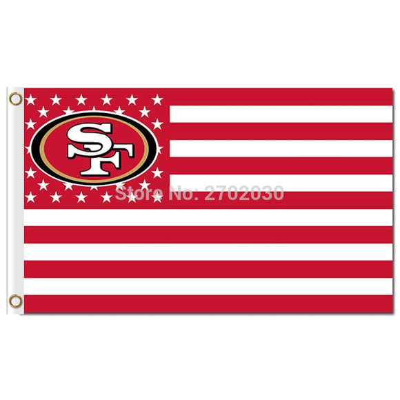 San Francisco 49ers Flag 3ftx5ft Banner 100D Polyester US Flag Metal Grommets World Series Banner San Francisco 49ers Banner