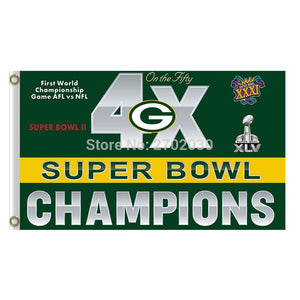 4x First World Green Bay Packers Flag Banners Sport Football Team Flags 3x5 Ft Super Bowl Champions Banner Flying Printed