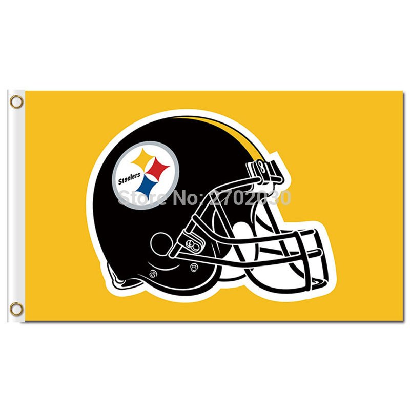 a90b9376 Pittsburgh Steelers Flag Helmet World Series Football Team 3ft X 5ft Yellow  Background Pittsburgh Steelers Helmet Banner