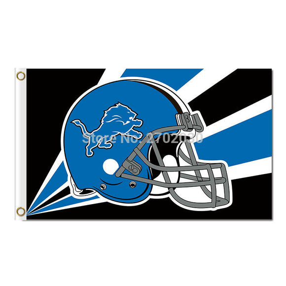 Blue Helmet Disign Detroit Lions Flag Team Super Bowl Champions 3ft X 5ft Banner World Series Champion Lion Flag