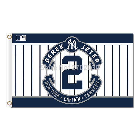 2 Derek Jeter New York Yankees Flag Baseball World Series Champions Super Fan Team Flags Banner Banners Flying Hand Decoration