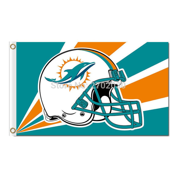 Helmet Design Strip Miami Dolphins Flag Team Champions Fan Banners World Series Flying 3ft X 5ft Miami Dolphins Banner