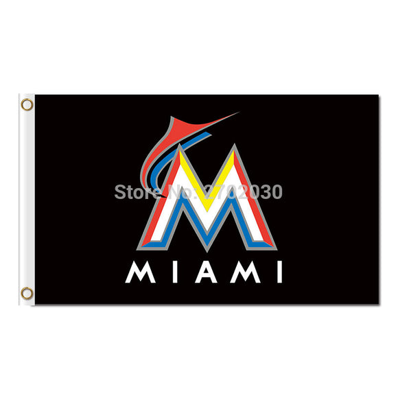 Black M Design Miami Marlins Flag World Series Champions Football Fans Team Banners Flags Banner 3x5 Ft