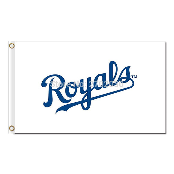 White Kansas City Royals Logo Flag Baseball Fan Team Banners Flags World Series Champions Banner 3x5 ft 100D Polyester