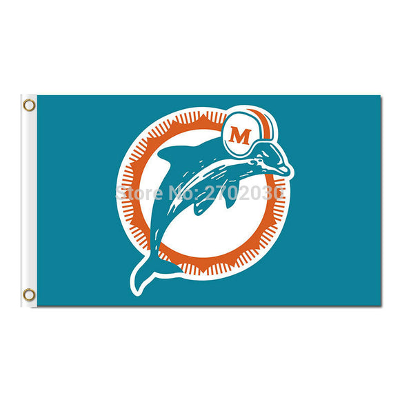 Logo Design Blue Miami Dolphins Flag Team Super Bowl Champions Miami Dolphins Banner 90 X 150 Cm 100D Polyester Printed