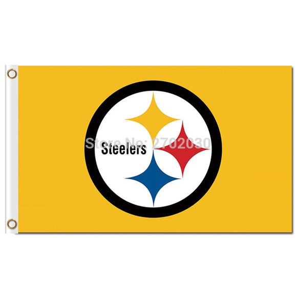Pittsburgh Steelers Flag Yellow Style Champions World Series Football Team 3ft X 5ft Pittsburgh Steelers Banner Flag