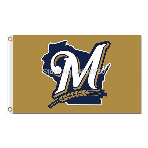 M Design Milwaukee Brewers Flag World Series Champions Baseball Super Team Fan Team Banners Flags Banner 3x5 Ft