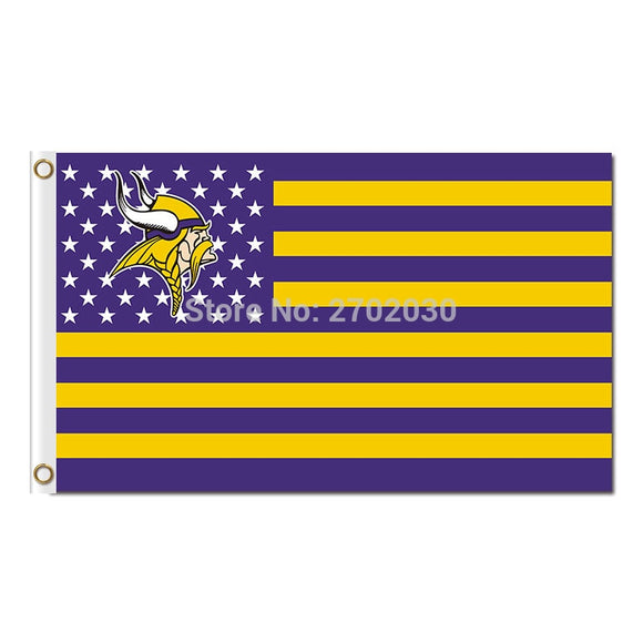 Us America Usa Star And Stirp Minnesota Vikings Flag Team Super Bowl Champions Minnesota Vikings Banner 3ft X 5ft 100D Polyester