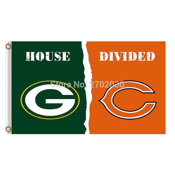 Green Bay Packers Flag Vs Chicago Bears Banners Football Team Flags 3x5 Super Bowl Champions Banner Fan