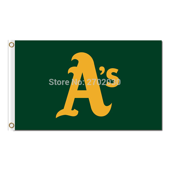 A'S Design Oakland Athletics Flag Baseball World Series Champions Super Fan Team Flags Banner 3x5 Ft Banners 100D Polyester