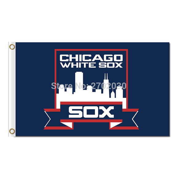 Chicago White Sox Flag Fans Baseball Team Banners Major League Baseball Flags Banner 3x5 Ft Sox Blue Red City