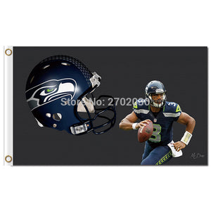 Football Flag Design Seattle Banner Man Cave World Series Football Team Banners 3ft X 5ft Seattle Flag 100D Polyester Custom