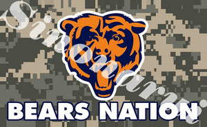 Hot Sale Chicago Bears Ameican Football Team Camouflage  Durable Banners 100D Polyester 90x150CM Army Camo Flags Banners