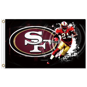 San Francisco 49ERS Flag World Series 3ft X 5ft Banner 100D Polyester Flag Black Football Team Banner Faithful Custom San Fan 2