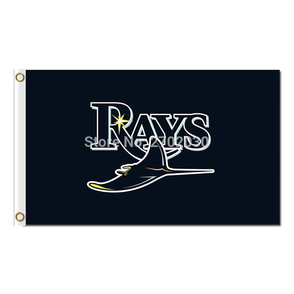 Text Rays Tampa Bay Rays Flag Baseball 3x5ft Super Fan Team Banners Black Flags World Series Champions Banner Custom