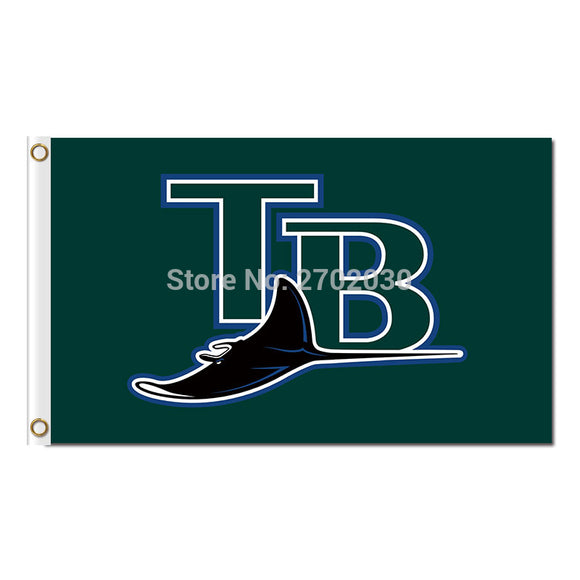 Green Tampa Bay Rays Banner Flag Baseball Team Banners Champions Flag 3x5 Ft World Series Flying TB Design