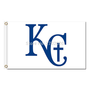 White Kansas City Royals Logo Flag Baseball Fan Team Banners Flags World Series Champions Banner 90x150cm Polyester