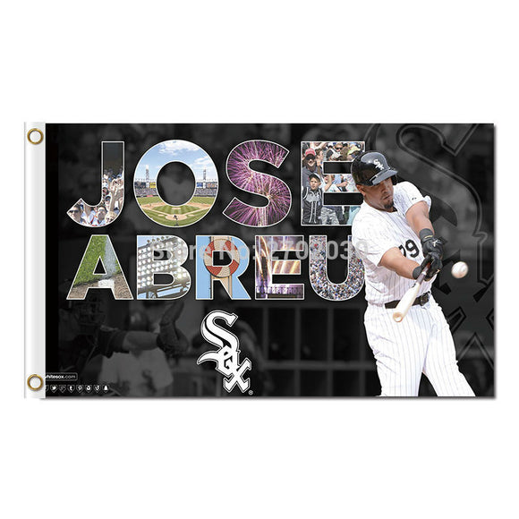 Jose Abreu Chicago White Sox Flag Baseball Team Banners Major League Baseball Flags Banner 3x5 Ft Sox Champions 90 X 150 Cm