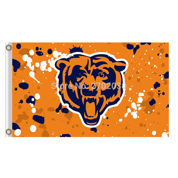 Yellow Spot Chicago Bears Flag Banners Football Team Flags 3x5 Ft Super Bowl Champions Banner 90x150cm Bear