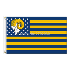 Us Country Star And Stripe Los Angeles Rams Flag Super Bowl Champions Fan Flag 3x5ft Sport Football Team Outdoor Banner